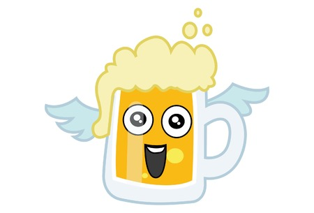 Vector cartoon illustration of Beer cup with wings. Isolated on white background.