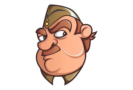 Vector cartoon illustration of Policeman angry. Isolated on white background. Vetores