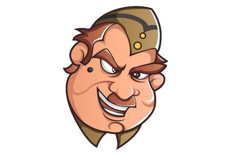Vector cartoon illustration of Policeman laughing. Isolated on white background.