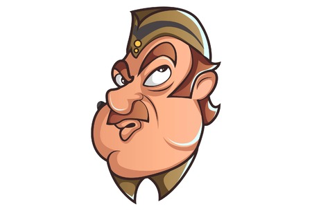 Vector cartoon illustration of Policeman thinking. Isolated on white background.