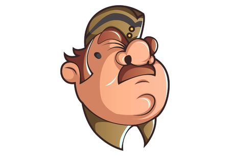 Vector cartoon illustration of Policeman is upset. Isolated on white background. Vetores