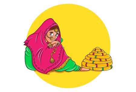 Vector cartoon illustration of punjabi bridal. Isolated on white background.