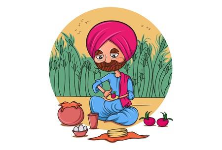 Vector cartoon illustration. Punjabi farmer eating food. Isolated on white background.