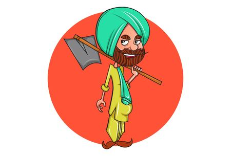 Vector cartoon illustration of punjabi farmer holding grape hoe. Isolated on white background.