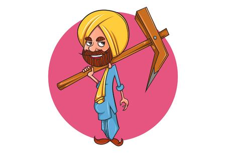 Illustrazione del fumetto di vettore del contadino punjabi con aratro. Isolato su sfondo bianco.