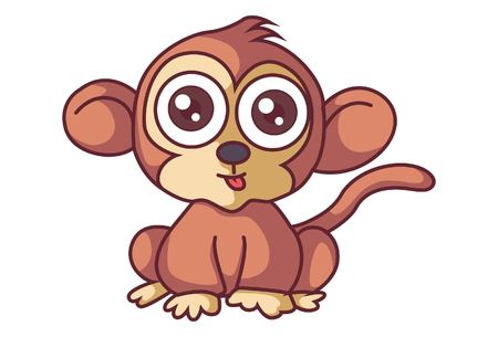 Vector cartoon illustration of cute monkey. Isolated on white background.