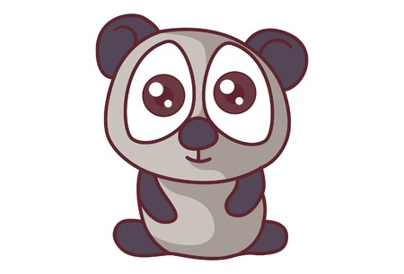 Vector cartoon illustration of cute panda. Isolated on white background.
