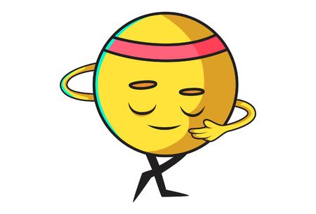Vector cartoon  illustration of cute ball emoji bowing down. Isolated on white background. 일러스트