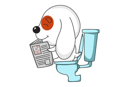 Vector cartoon illustration of cute dog sitting on commode and reading newspaper . Isolated on white background.mode