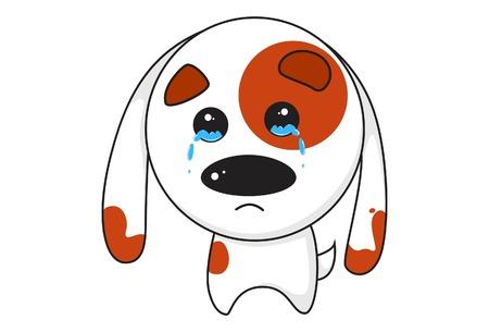 Vector cartoon illustration of cute dog upset. Isolated on white background. 矢量图像