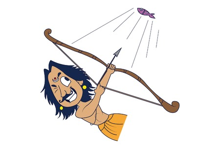 Vector cartoon Illustration. Lord Arjuna is hunting of fish . Isolated on white background.