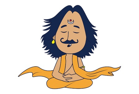 Vector cartoon Illustration. Lord Arjuna is meditating. Isolated on white background.