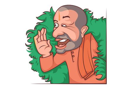 Vector cartoon illustration of Yogi Adityanath is saying something slowly. Isolated on white background.