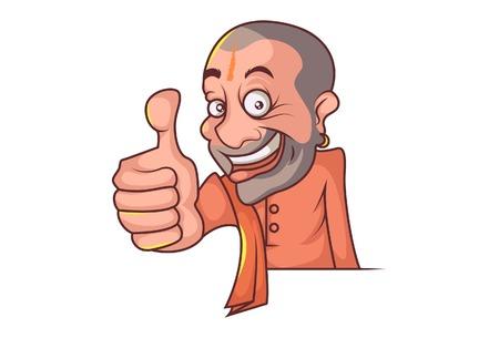 Vector cartoon illustration of Yogi Adityanath showing thumbs up. Isolated on white background. Vektorové ilustrace