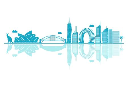 Vector cartoon Illustration of Australia Skyline. Isolated on white background.
