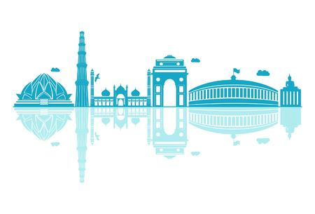 Vector cartoon Illustration of Delhi Skyline. Isolated on white background.