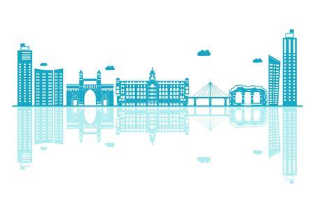 Vector cartoon Illustration of Maharashtra Skyline. Isolated on white background.