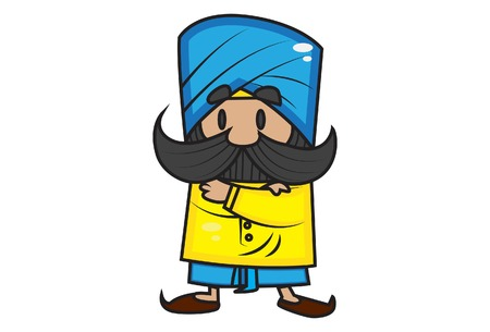 Vector cartoon illustration of cute mustache man with cross hands. Isolated on white background.