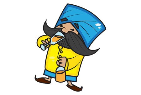 Vector cartoon illustration of cute mustache man drinking beer. Isolated on white background. Illustration