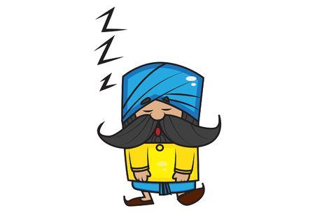 Vector cartoon illustration of cute mustache man sleeping. Isolated on white background.