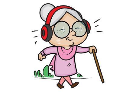 Illustrazione del fumetto di vettore. La nonna carina sta ascoltando una canzone con le cuffie. Isolato su sfondo bianco. Vettoriali