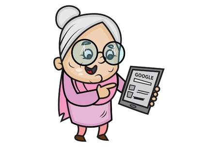 L'illustrazione del fumetto di vettore della nonna carina sta usando google nel cellulare. Isolato su sfondo bianco.