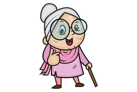 Vector cartoon illustration of cute grandmother showing thumbs up. Isolated on white background.