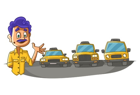 Vector cartoon illustration of taxi driver showing taxis. Isolated on white background.