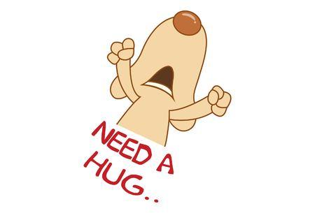 Vector cartoon illustration of cute dog saying need a hug. Isolated on white background. Ilustração