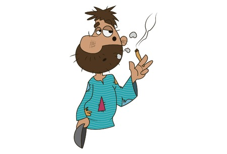 Vector cartoon illustration of cute beggar smoking. Isolated on white background. Иллюстрация