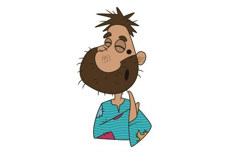 Vector cartoon illustration of cute beggar grinning. Isolated on white background. Ilustração