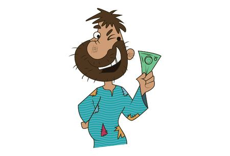 Vector cartoon illustration of cute beggar showing money Isolated on white background.