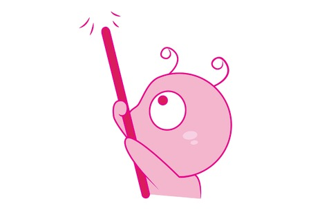 Vector cartoon illustration of cute snail holding stick. Isolated on white background. Stock Illustratie
