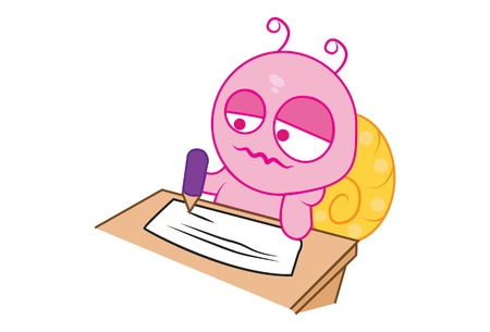 Vector cartoon illustration of cute snail is writing on paper. Isolated on white background.