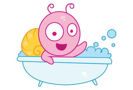 Vector cartoon illustration of cute snail bathing. Isolated on white background. Illustration