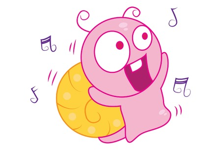 Vector cartoon illustration of cute snail singing a song. Isolated on white background.