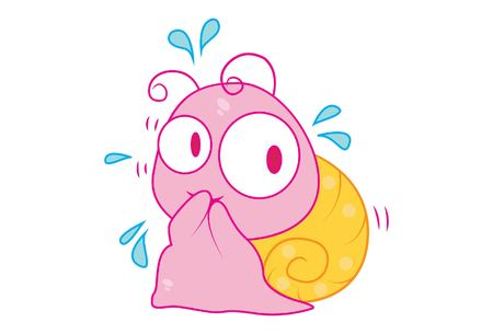 Vector cartoon illustration of cute snail thinking. Isolated on white background. 向量圖像