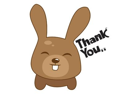 Vector cartoon illustration of cute bunny saying thank you. Isolated on white background. Illustration