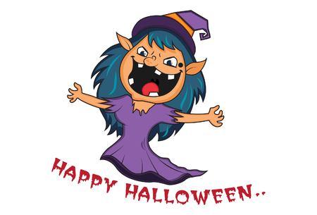 Vector cartoon illustration of Halloween saying happy halloween. Isolated on white background.