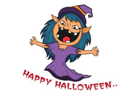 Vector cartoon illustration of Halloween saying happy halloween. Isolated on white background.