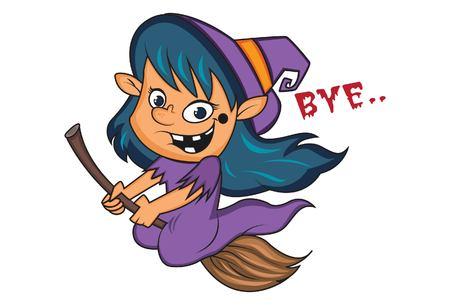 Vector cartoon illustration of Halloween saying bye. Isolated on white background. Ilustrace
