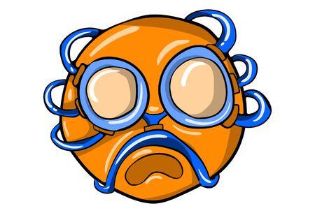 Vector cartoon illustration of funny orange emoji. Isolated on white background.  イラスト・ベクター素材