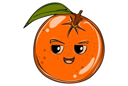 Vector cartoon illustration of orange. Isolated on white background. Ilustração