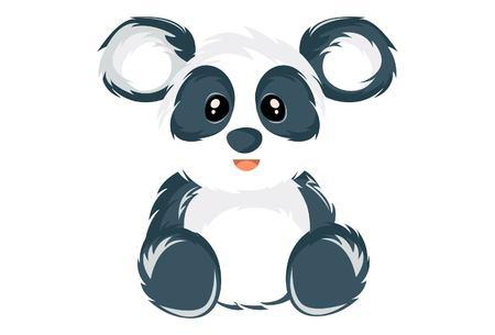 Vector cartoon illustration of the cute panda. Isolated on white background. Standard-Bild - 122085066