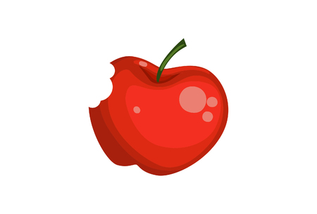 Vector cartoon illustration of an apple. Isolated on white background.