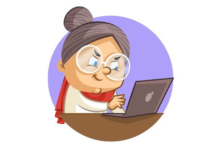 Vector cartoon illustration of a cute grandmother working on a laptop. Isolated on white background. Illustration