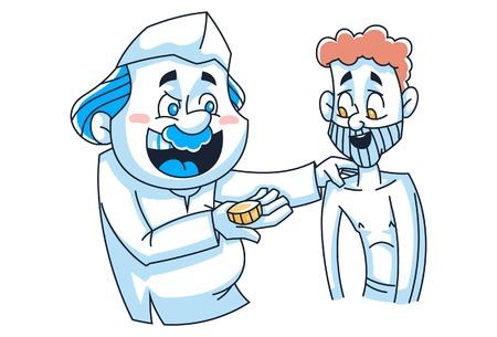 Vektor-Cartoon-Illustration. Indischer Politiker gibt dem armen Mann Geld. Isoliert auf weißem Hintergrund.