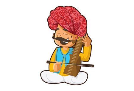 Vector cartoon illustration of a rajasthani man playing sarangi instrument. Isolated on white background.