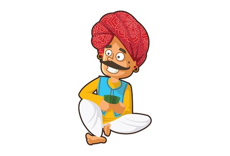 Vector cartoon illustration of a rajasthani man playing card. Isolated on white background.
