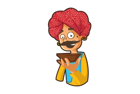 Vector cartoon illustration of a rajasthani man holding the bowl in hand. Isolated on white background.